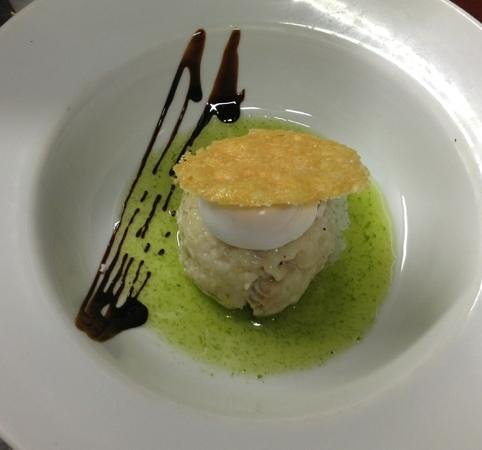 Quantro Restaurant: smoked haddock risotto, poached egg, Parmesan crisp!