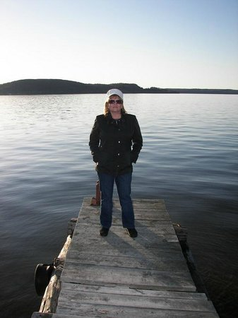 Sunset Motel on the Bay: Deb on the dock