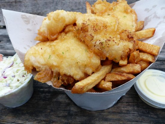 Dicks Fish & Chips - MOVED: Ligtly battered halibut and chips. Yummy!