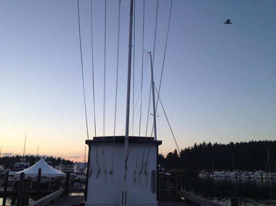 Roche Harbor, WA: While watching the sunset we were surprised by the unexpected flag ceremony- it was really cool!