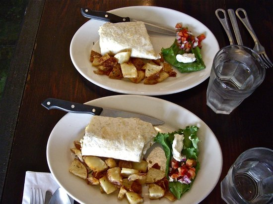 Industrial Cafe and Saloon: Breakfast burrito w/side of home potatoes, split