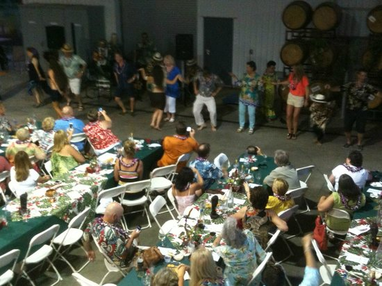 Andis Wines : dancing lessons at our annual Luau event