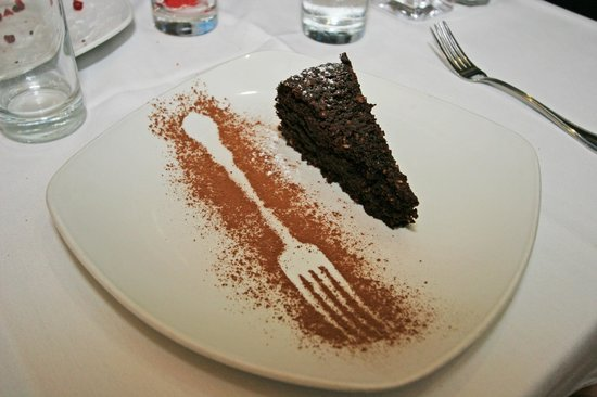 La Capannina: Flourless chocolate cake with phantom fork