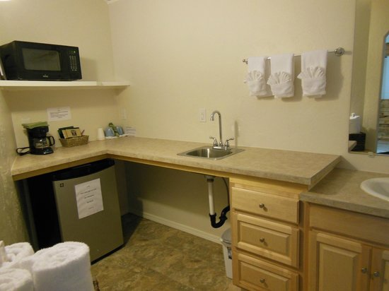Denali Fireside Cabins & Suites: Very spacious vanity area with 2 basins!