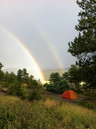 Moraine Park Campground: Double rainbow over neighbors tent
