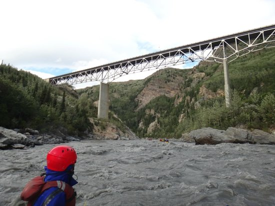 Denali Outdoor Center : Paddling under the Nenana-river Bridge.