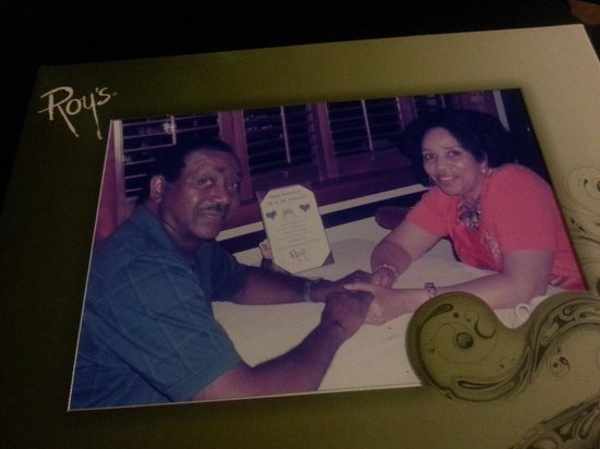 Roy's - Plano: They gave us this personalized certficate and took this picture for a keepsake.  We had a great