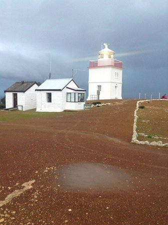 Cape Borda Lighthouse Keepers Heritage Accommodation: Woodward Hut on left, Weather Station then Light House