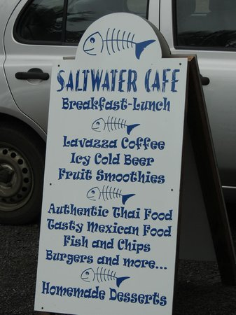 Saltwater Cafe: The main menu board