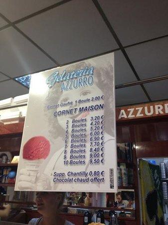 gelateria azzurro : menu
