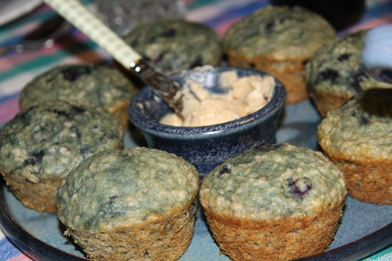 Morgan House Bed and Breakfast and Wool Works Studio: homemade muffins with blueberries