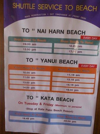 Rawai Palm Beach Resort: Horaires Plage