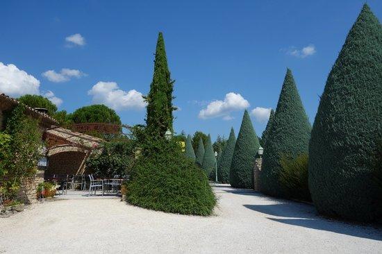 Auberge de Carcarille : Allée d'entrée + terrasse du restaurant