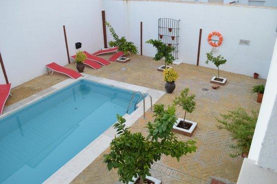 Hostal Aznaitin: Vista de parte de la piscina y zona de hamacas.