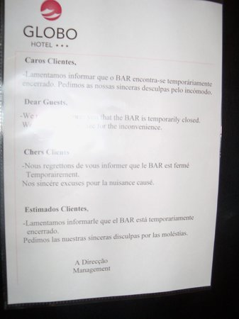 Hotel Globo: Aucun lieu de convivialité Bar Fermé