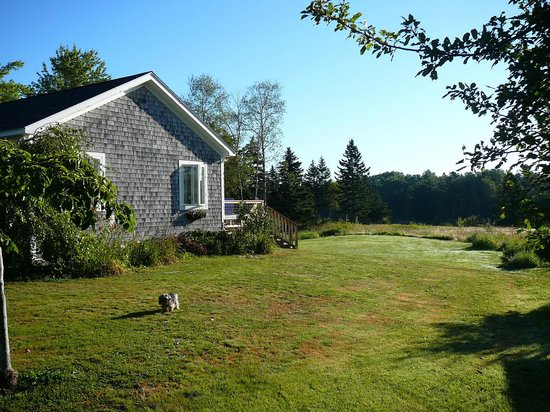 Whiting, Maine: Master suite is entire addition on this side; private deck on right.