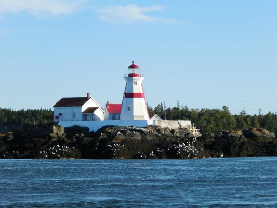 Downeast Charter Boat Tours: A lighthouse in Canada as seen from the boat.