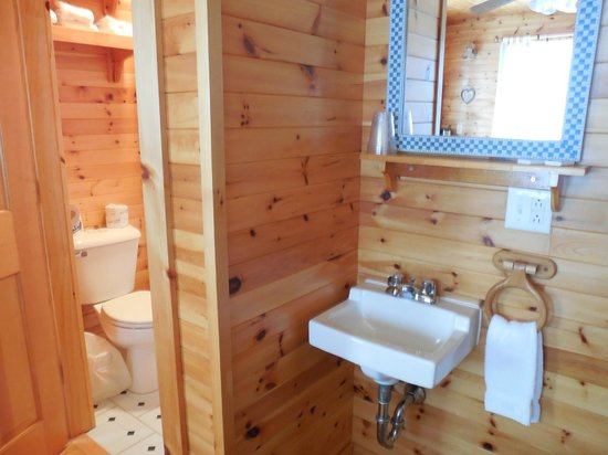 Betsy Ross Lodging: Another view of the bathroom/sink area.