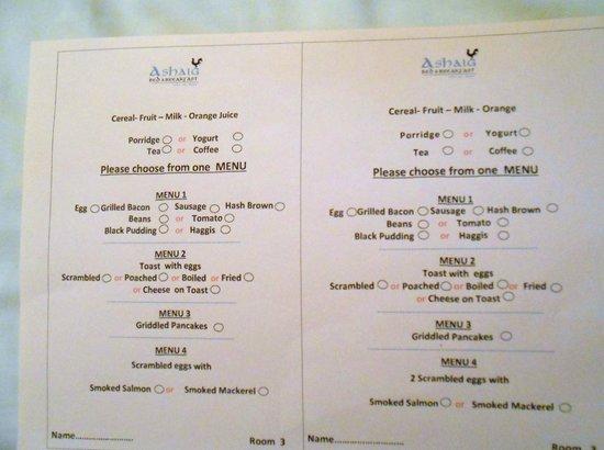Ashaig Bed and Breakfast: The breakfast menu