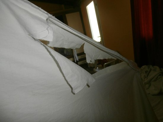 Taner Hotel : Ripped Sheets on the bed