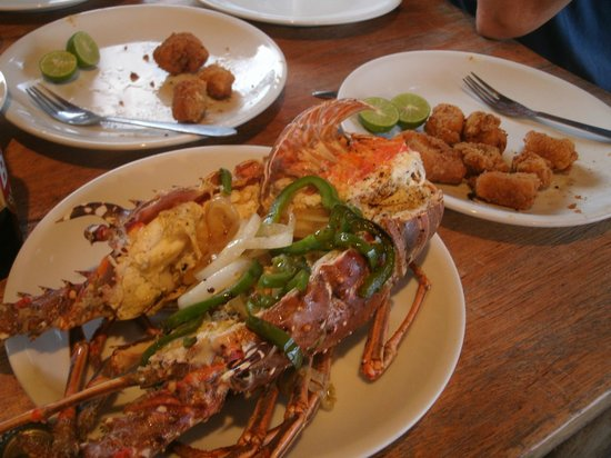 Casa Nostra: My lobster plate with deep-fried shark and catfish bits...