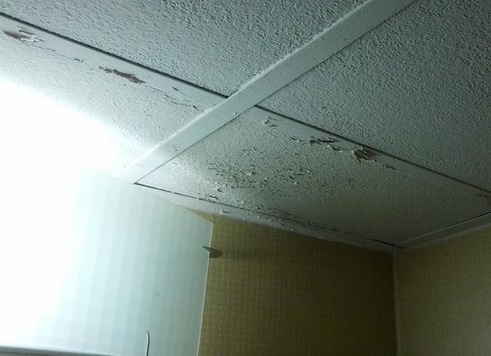 Ramada East Syracuse Carrier Circle: a very tired bathroom in a has been hotel