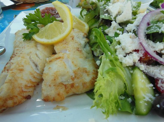 Magnolia's Grill: pan fried Haddock with Greek Salad