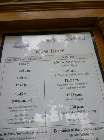 St. Mary's Pro-Cathedral: Horarios