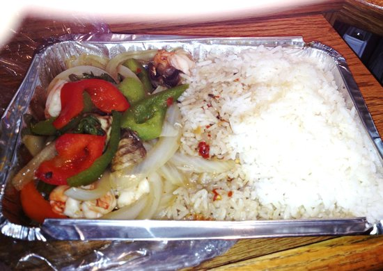 Krua Thai : I guess I ordered the white rice with shrimp and vegetables