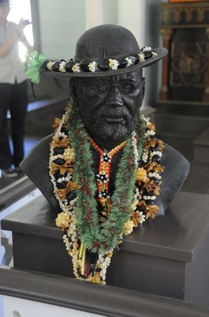 Kalaupapa National Historical Park : Bust of Father Damien, inside St. Philomena's