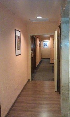 Hotel Eden Nord: Upper floor halls aren't marbled, but instead peach walls, laminate flooring & dark carpet