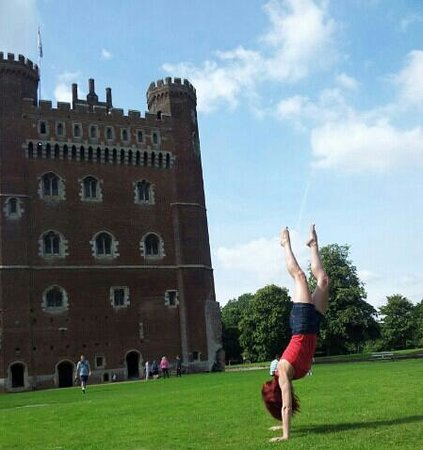 Tattershall Castle: my handstand fun in Tattershall grounds.