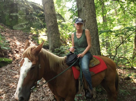 Lake Glendale Stables: On trail with Anna