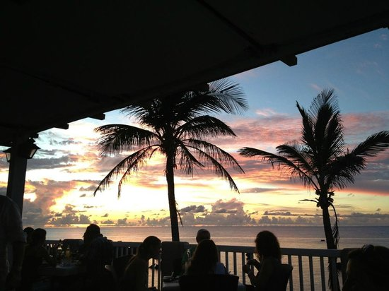 The Beach House at Blackbeard's: Sunset from the table