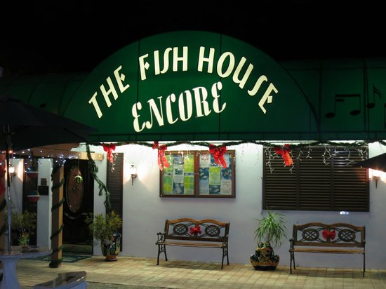 The Fish House Encore: Encore front door at night