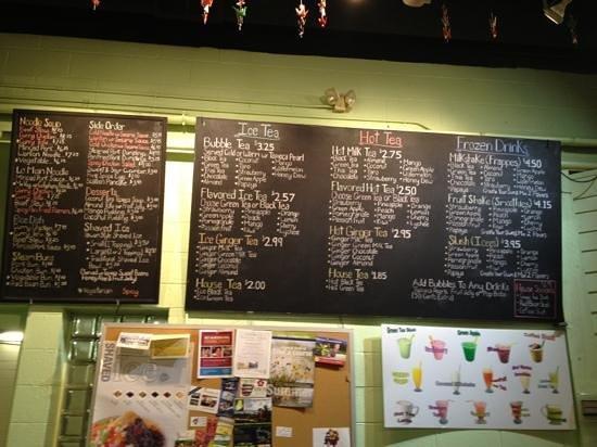 Bubble Maineia Tea Shop: menu