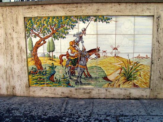 Ruta de Don Quijote: Panel from Damiel fountain