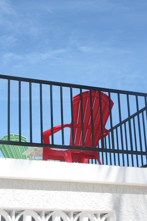 Villas on Great Bay: a neighbor's colorful chair
