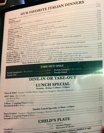 Reno's Pizza & Italian Restaurant: menu page 2