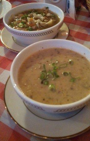 European Cafe & Schnitzel House: Sauerkraut soup and chicken noodle soup