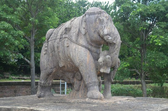 Konark, India: Magnificent elephant with intricate designs