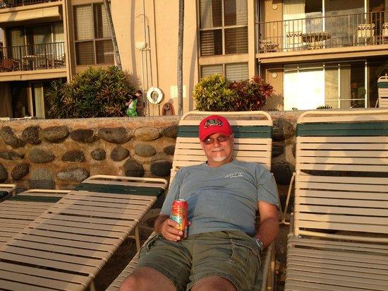 Nohonani Condos: my honey on a beach lounger