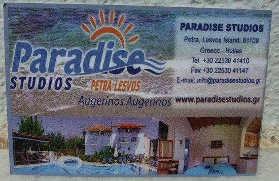 Paradise Studios: Card with correct tel no