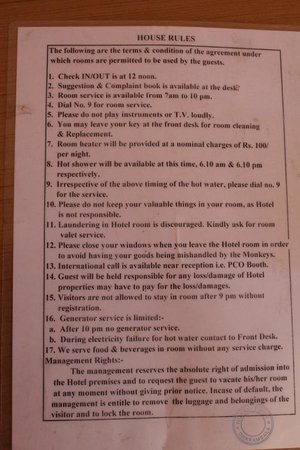 These are the room rules  #12 was funny :-) but the ones