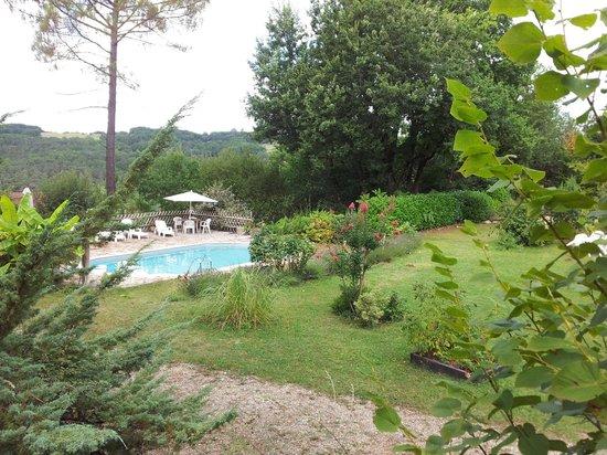 Relais de la Côte de Jor : la piscine vue des chambres