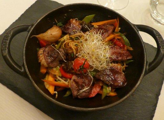 Restaurant La Cafetière Fêlée : wok magret