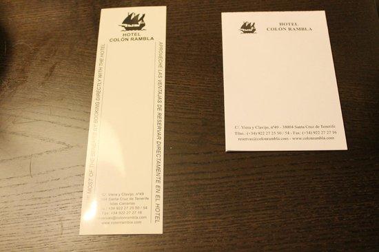 Hotel Colon Rambla: detalle papeles