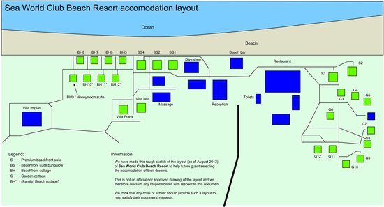 Sea World Club Beach Resort: Rough layout as of August 2013