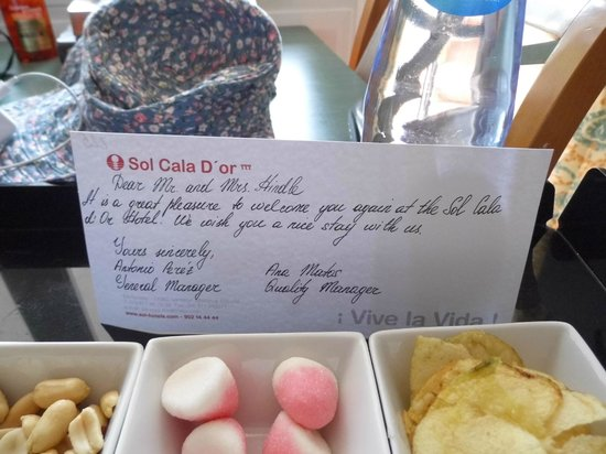 Sol Cala d'Or Apartamentos : nice touch from the management