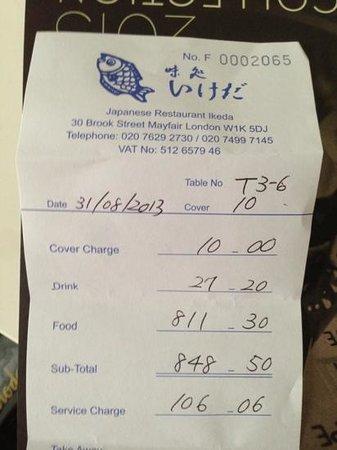 Ikeda: No itemized bill